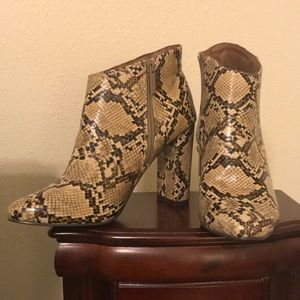 Breckelle's Snake Print Chunky Heeled Booties